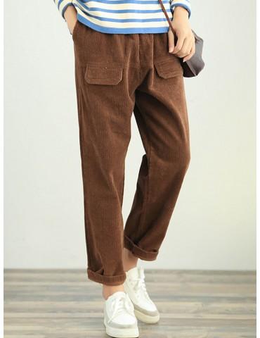 Corduroy Solid Color Side Pockets Nine Pants