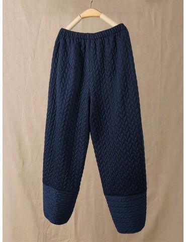 Casual Quilted Cross Hem Elastic Waist Pants