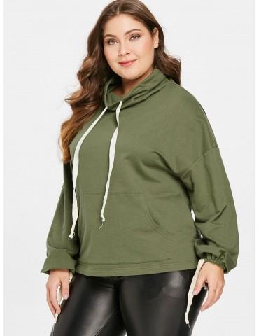 Plus Size Pocket Drawstring Sweatshirt - Army Green 3x
