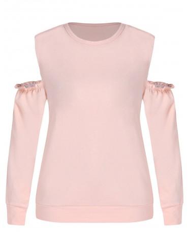 Plus Size Open Shoulder Sweatshirt - Orange Pink 1x