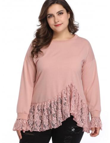 Lace Insert Plus Size Sweatshirt - Pink 4x