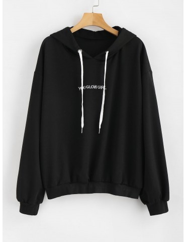 Letter Embroidered Plus Size Hoodie - Black 3x