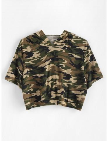Plus Size Camo Crop Hoodie - Woodland Camouflage 1x