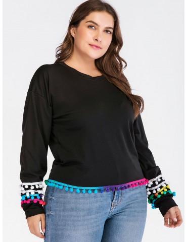 Colorful Pom Pom Plus Size Sweatshirt - Black 3x