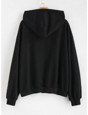 Letter Embroidered Plus Size Hoodie - Black 2x