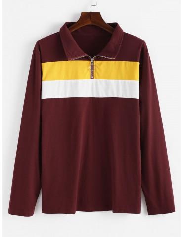 Half Zip Color Block Plus Size Sweatshirt - Red Wine 1x