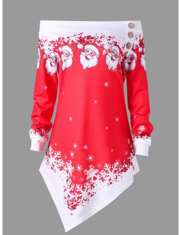 Plus Size Christmas Off The Shoulder Asymmetric Sweatshirt - Red Xl