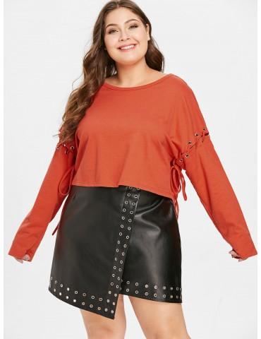 Plus Size Lace-up Drop Shoulder Sweatshirt - Bright Orange 4x