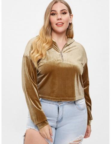 Plus Size Half Zip Velvet Hoodie - Khaki L
