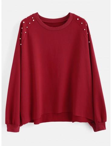 Beaded Raw Hem Plus Size Sweatshirt - Red Wine 1x