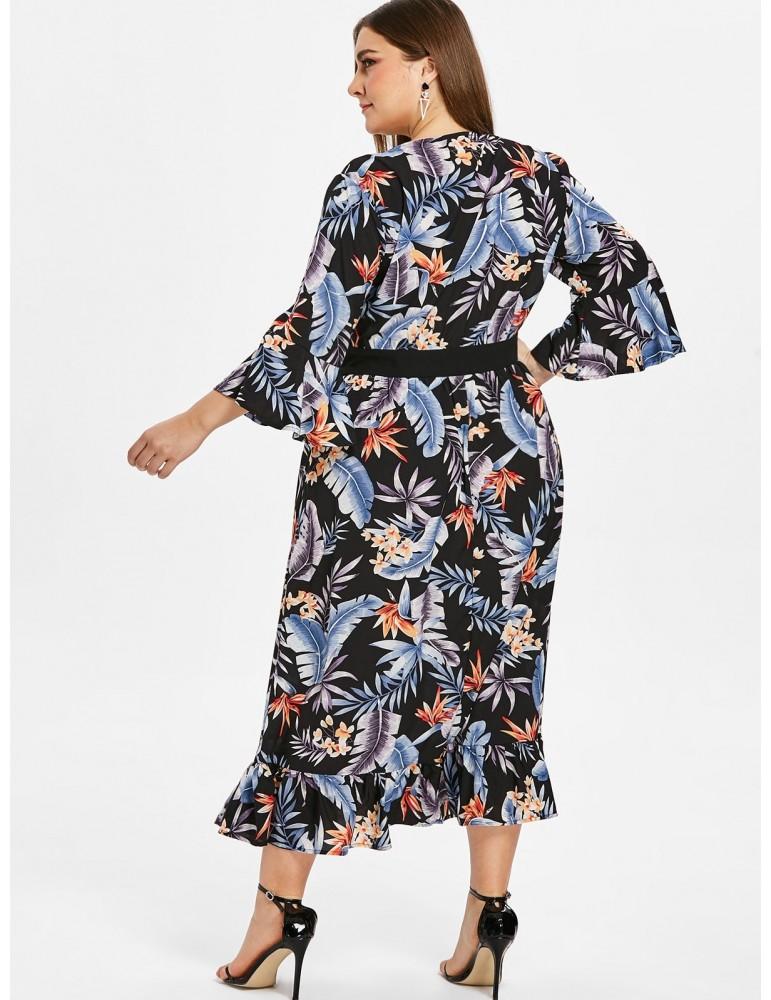 Floral Plus Size Flare Sleeve Flounce Dress - Black 3x