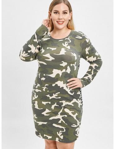 Camo Plus Size Slit Tee Dress - Acu Camouflage 3x