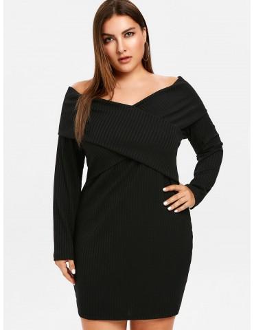Plus Size Off Shoulder Overlap Dress - Black L