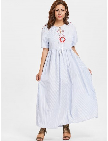 Plus Size Floral Embroidered Striped Maxi Dress - Light Blue 1x
