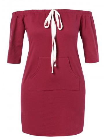Plus Size Off Shoulder Pocket Dress - Red Wine 1x
