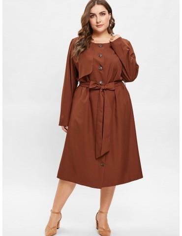 Plus Size Midi Shirt Dress With Belt - Brown 4x