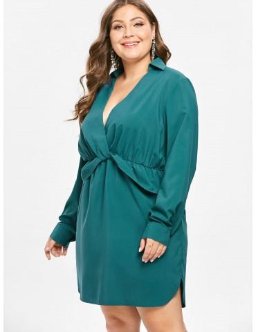 Plunge Plus Size Long Sleeve Dress - Greenish Blue 3x