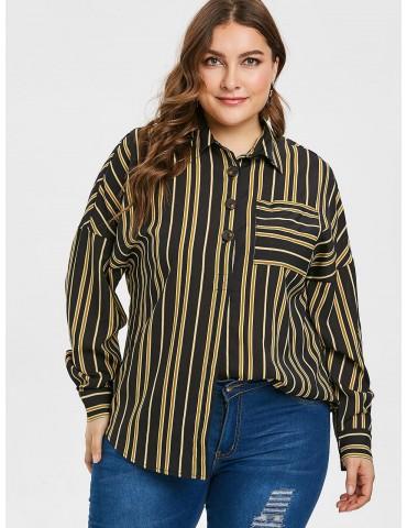 Plus Size Striped Pocket Half Button Blouse - Black 2x