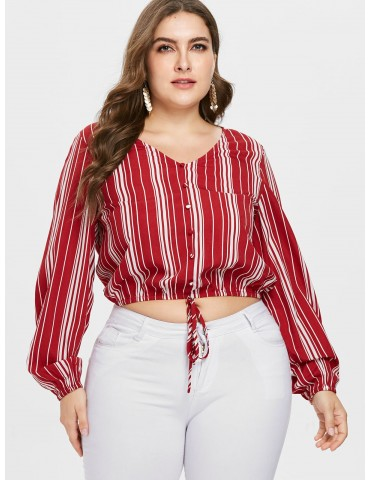Plus Size Striped Long Sleeve Blouse - Red 1x