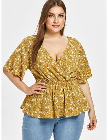Floral Plus Size Surplice Backless Blouse - Golden Brown L