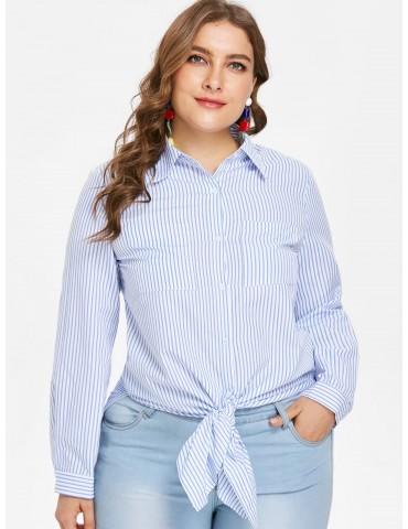 Plus Size Striped Tunic Slit Shirt - Jeans Blue L