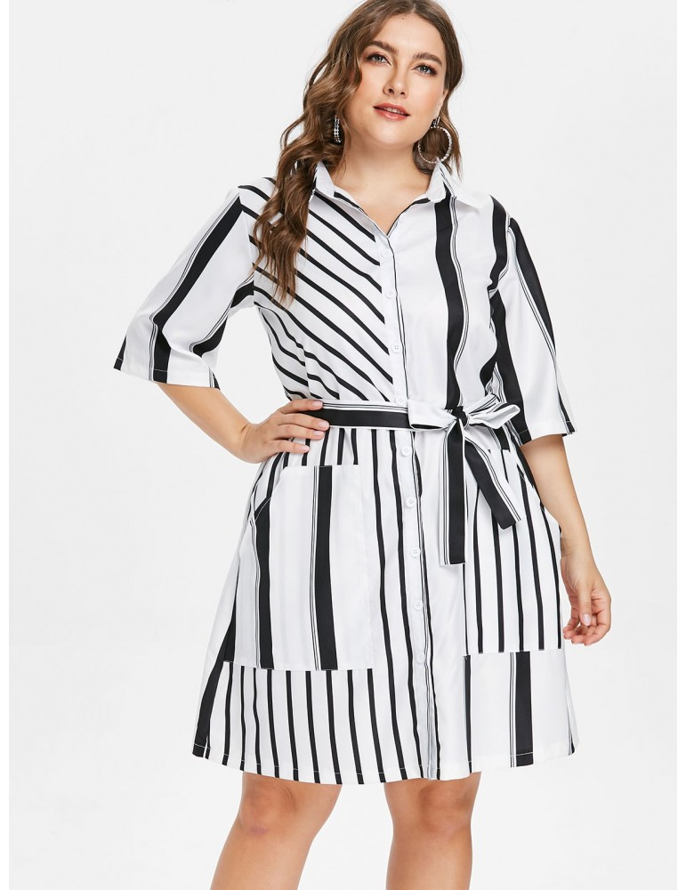 Plus Size Striped Belted Shirt - White 3x