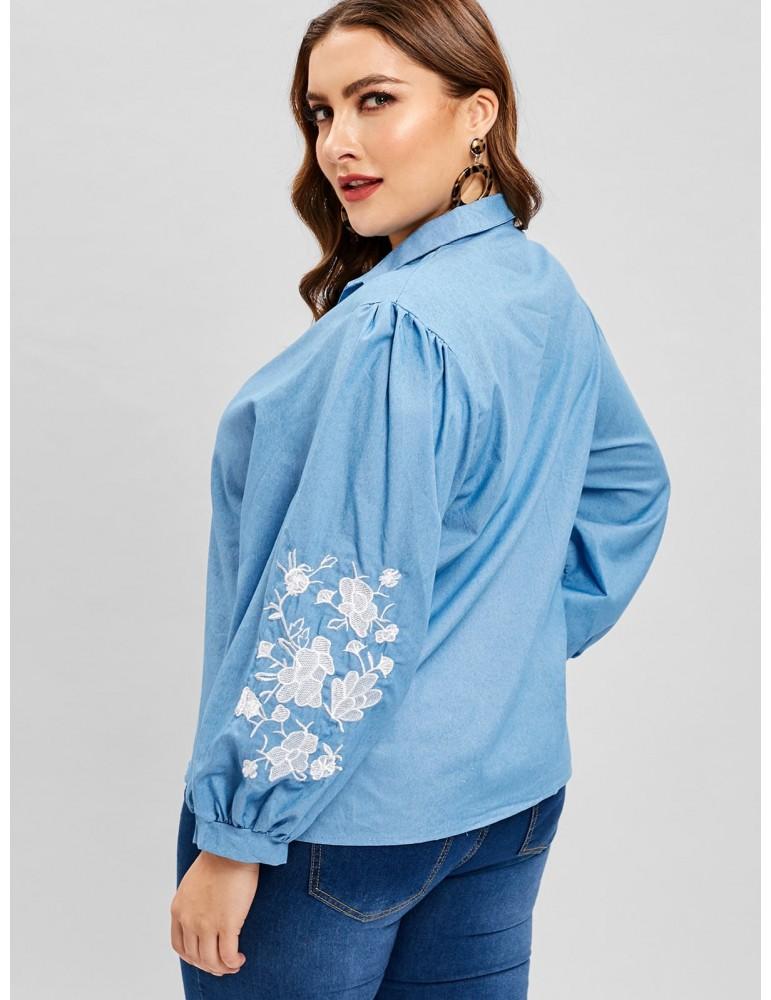 V Neck Floral Embroidered Plus Size Blouse - Denim Blue 2x