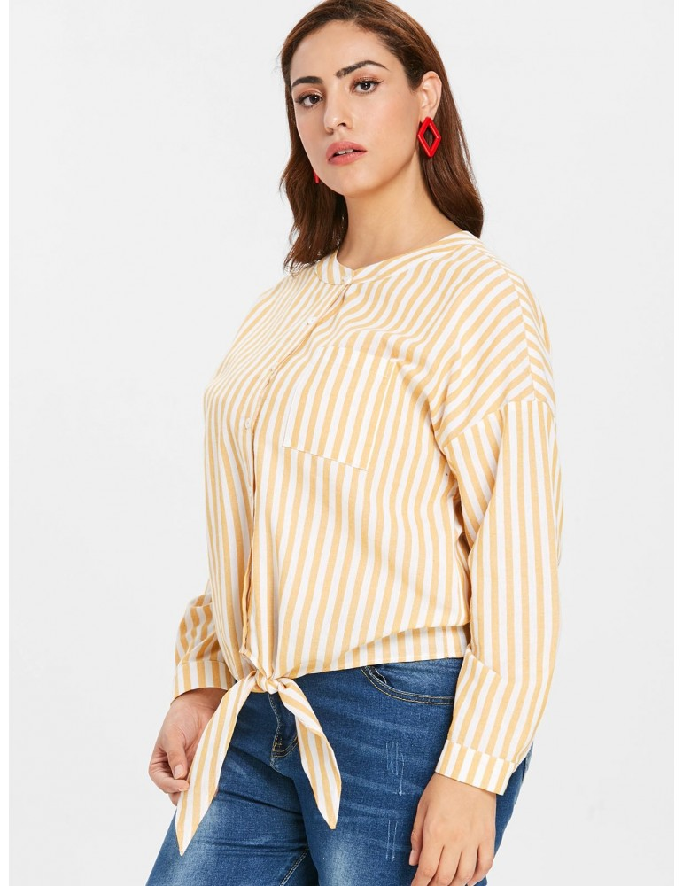 Plus Size Knot Striped Blouse - Rubber Ducky Yellow 2x