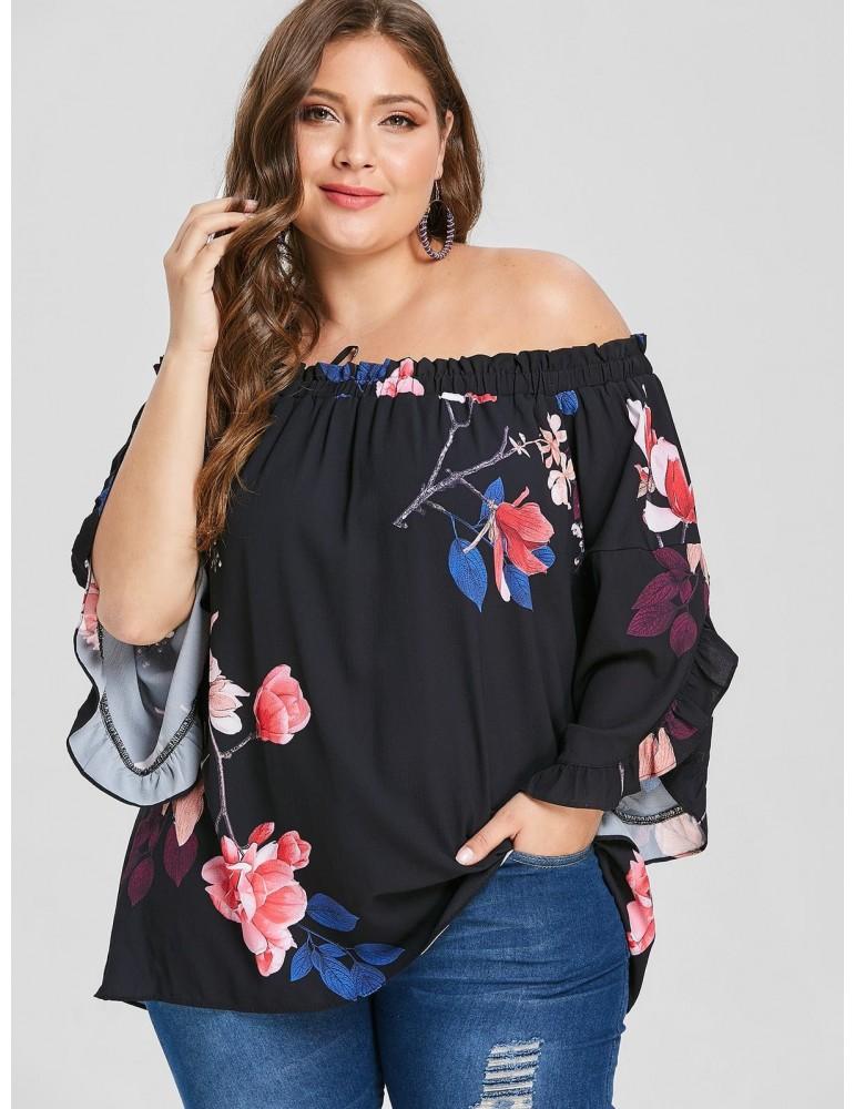 Plus Size Floral Off The Shoulder Tunic Blouse - Black 3x